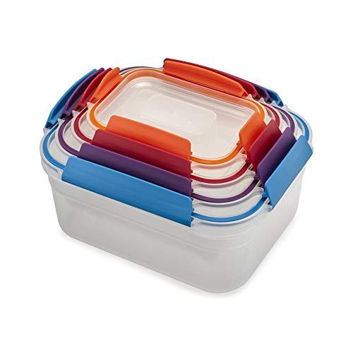 Joseph Joseph Nest Lock Plastic Food Storage Container Set with Lockable Airtight Leakproof Lids, 8-Piece, Multi-Color
