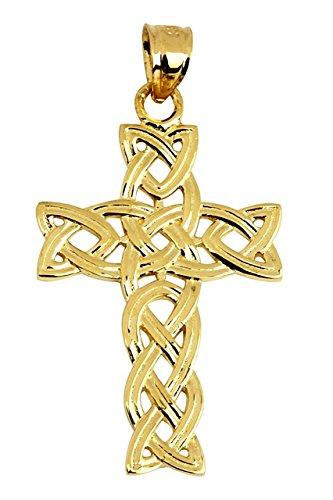 10k Yellow Gold Celtic Trinity Cross Pendant ()