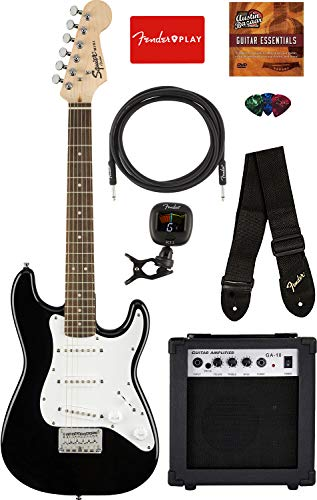 Squier by Fender Mini Strat Electric Guitar – Black Bundle with Amplifier, Instrument Cable, Tuner, Strap, Picks, Fender Play Online Lessons, and Austin Bazaar Instructional DVD