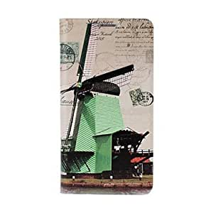 LZXWindmill Pattern Full Body Leather Case with Stand for Samsung Galaxy S5 i9600