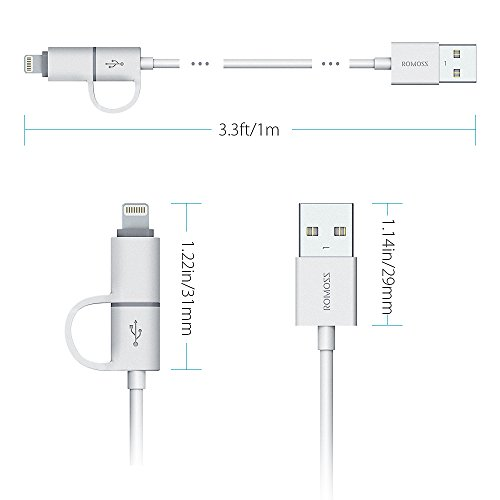ROMOSS 2-in-1 Lightning and Micro USB Cable, Premium Durable Sync and Fast Charging Cable Cord for Apple iPhone 7 / 7 Plus / 6S / 6S Plus / 6 / 6 Plus / 5S, iPad, Samsung and More - (3.3 FT, Grey)