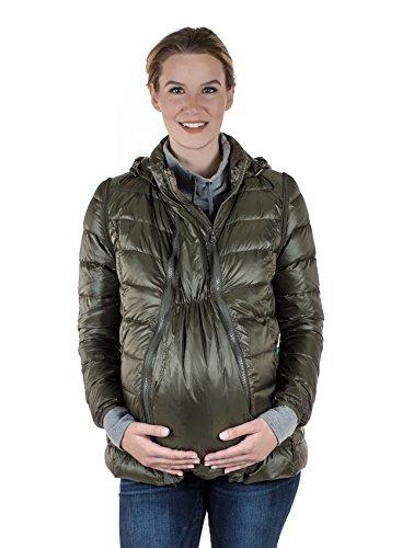 Maternity Jacket Down Filled Lightweight 5-In-1 'Lola' - Modern Eternity (X-Large, Khaki Green) by Modern Eternity