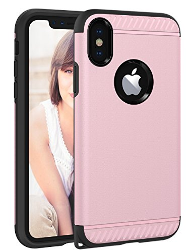 iPhone X Case, iPhone X Cover CHTech Slim Dual Layer Protective Shock-Absorption Armor Corner Cushion Case Cover with Lanyard Hole Design for Apple iPhone X 5.8''- Rose Gold