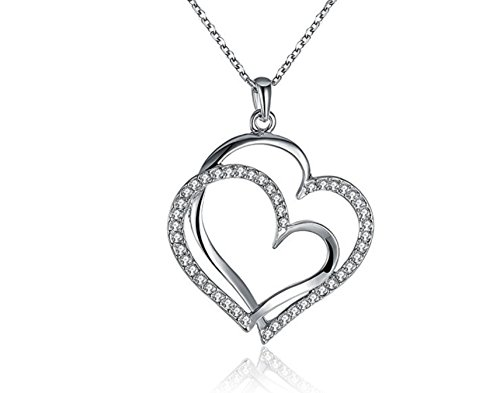 (Necklace Women Fashion Jewelry Plated Silver Full Rhinestone Crystal Silver Double Heart