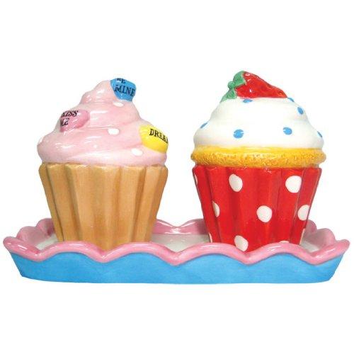 Westland Giftware Ceramic Salt and Pepper Shaker Set, 3.25-Inch, Cupcake Treats, Set of 2