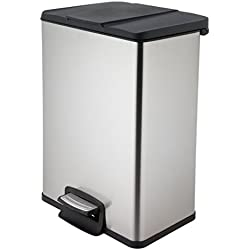 HomeZone Trash Bin 40L Stainless Steel Rectangular Pedal