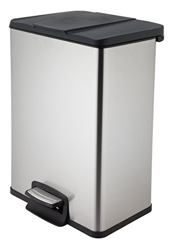 HomeZone Trash Bin 40L Stainless Steel Rectangular Pedal