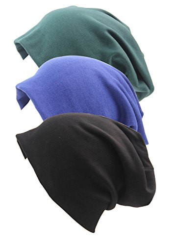 RRiody 3 Pack Unisex Indoors Cotton Stretch Beanie Hat- Soft Sleep Cap for Hairloss, Cancer, Chemo (3 Colors-1)