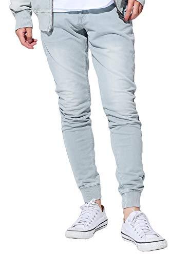 (JIGGYS SHOP Men's Sweatpants Denim Joggers Pants Slim-fit Tapered Stretch Jeans XL Bleached Blue)
