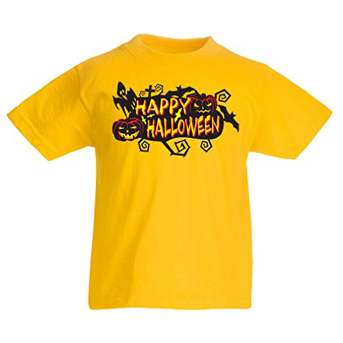 T Shirts for Kids Owls, Bats, Ghosts, Pumpkins - Halloween Outfit Full of Spookiness (9-11 Years Yellow Multi Color)