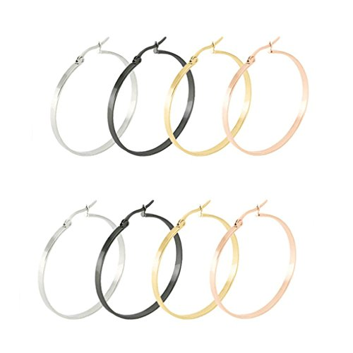 Price comparison product image AmDxD Jewelry 4 Pairs Round Hoop Earrings for Women,Stainless Steel Ear Clip Set for Sensitive Ears 20MM
