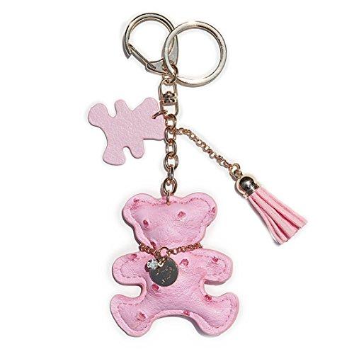 RitzyBay Leather Teddy Bear Keychain with Lucky Charms and Tassel (Teddy Bear Key)
