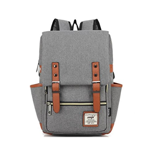 UPSUN(WenJie) Vintage Classy Chic Canvas Laptop School Travel Backpack Work Knapsack(S) - Light-gray