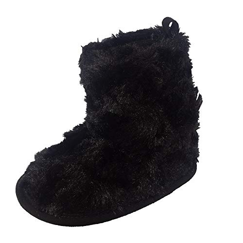 Little Me Black Faux Curly Fur Girl Boot, 0-6 Months; Baby Shoe Size 1 M US ()