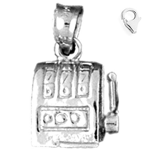 Jewels Obsession Slot Machine Charm | 14K White Gold Slot Machine Charm Pendant - 16mm