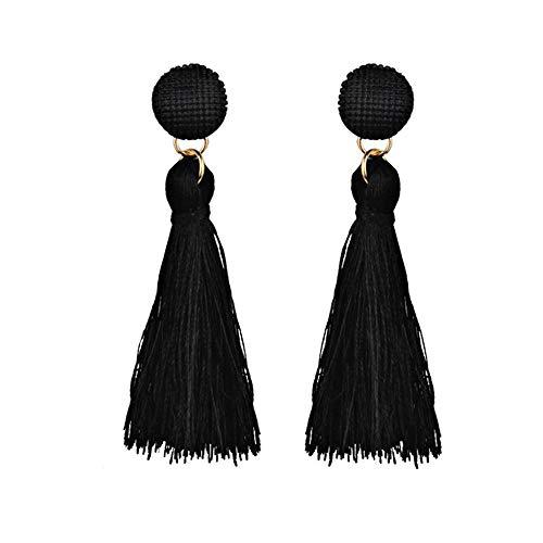 (Tassel Dangle Threader Drop Earrings Ear Studs Fringe Thread Hoops Linear Tribal Threading Charms Jewelry Black Tone)