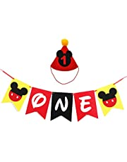 Mickey Mouse First Birthday Party Supplies, Handmade 1st Felt Garland Birthday Highchair Banner with Party Hat for Baby Boys Shower Theme Parties Decorations