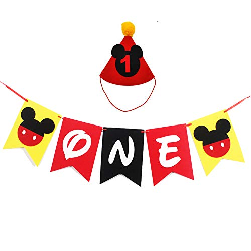 Mickey First Birthday (Mickey Mouse First Birthday Party Supplies, Handmade 1st Felt Garland Birthday Highchair Banner with Party Hat for Baby Boys Shower Theme Parties)