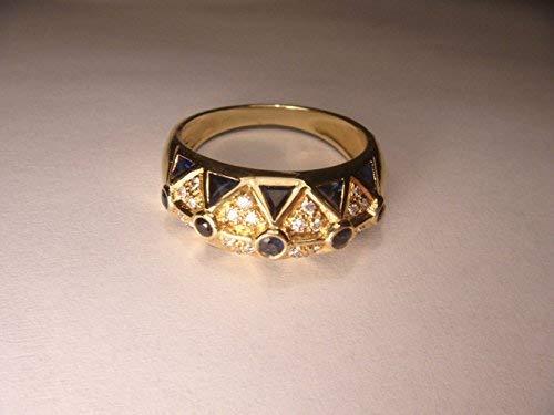 (Gorgeous Estate Le Vian Levian 18K Yellow Gold Sapphire Diamond Mosaic Band Ring)