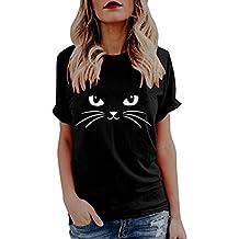 Funic Clearance - Blusa de manga corta para mujer, diseño de gato