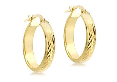 Jewellery World Bague en or jaune 9carats 19mm Boucles d'oreilles créoles Coupe Diamant rond