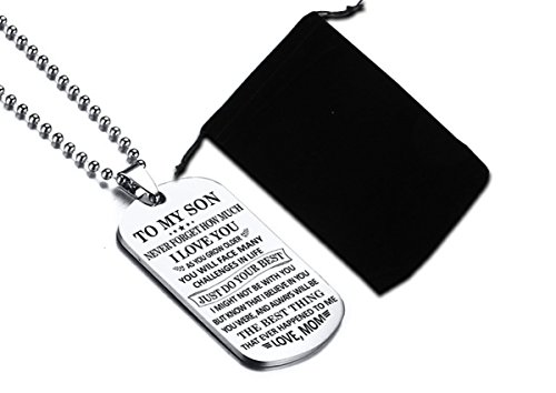 To My Son Just Do Your Best Love Mom Dog Tag Military Air Force Navy Coast Guard Necklace Ball Chain Gift for Best Son Birthday Graduation Stainless Steel by Stashix (Image #1)