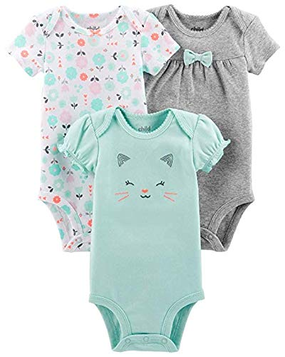 Carter's Child of Mine Mint Short Sleeve Bodysuits, 3-Pack (Baby Girls) (0-3 Months) (Carters Child Mine)