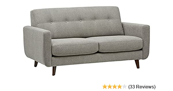 "Amazon Brand – Rivet Sloane Mid-Century Modern Sofa with Tufted Back,  8.8""W, Pebble"