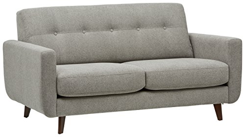 "Rivet Sloane Mid-Century Tufted Modern Sofa, 64""W, Pebble - Impress your friends with this mid-century modern style. The u-shaped, curved silhouette of this sofa, accented by hand tufting and buttons on the back pillow, will look smart in your living room. 64.2""W x 35.8""D x 33.1'H Hardwood frame with solid beech wood legs - sofas-couches, living-room-furniture, living-room - 41wXnZGWYAL -"