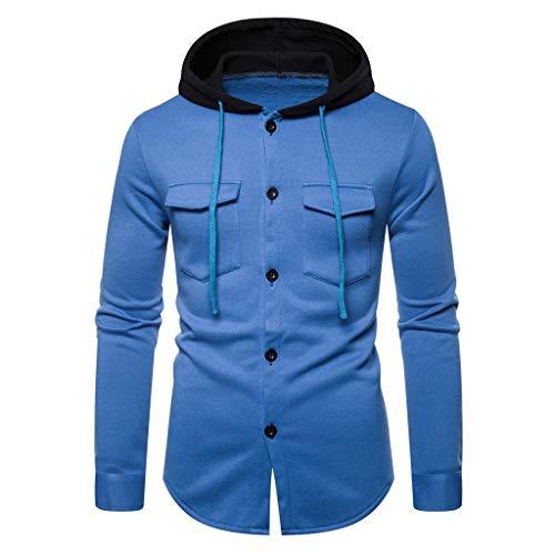 iLXHD Men Button Down Shirt Autum Winter Long Sleeve Hooded Sweatshirt Printed Outwear Tops Blouse Blue