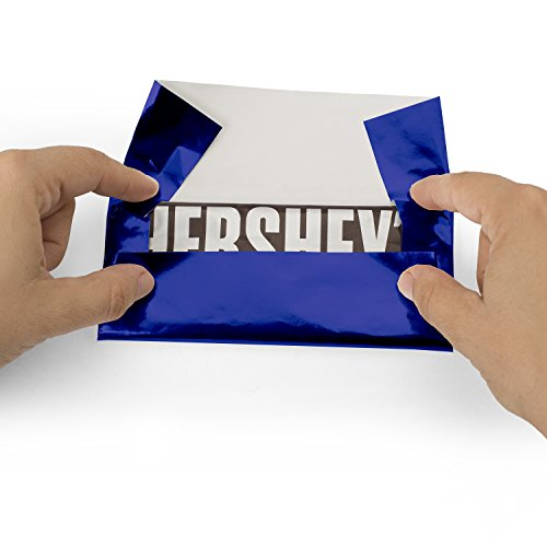 Foil Wrapper (Dark Blue) - Pack of 100 Candy Bar Wrappers with Thick Paper Backing - Folds and Wraps Well - Best for Wrapping 1.55Oz Hershey/Candies/Chocolate Bars/Gifts - Size 6