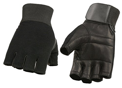 M-BOSS Motorcycle Apparel-BOS37562-BLACK-2X-MEN'S LEATHER & SPANDEX FINGERLESS MECHANICS GLOVE W/LEATHER PADDED PALM, WRIST WRAP-BLACK-2X