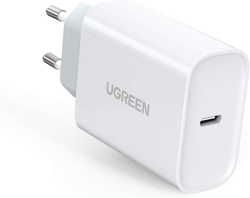 """UGREEN Cargador USB C 30W, Cargador Carga Rapida Power Delivery 3.0, Cargador Pared USB C Quick Charge QC 3.0 para Xiaomi Mi 9 Redmi Note 8 iPhone 9 11 XS XR 8 iPad Pro 2020 Macbook 12"""" Samsung S20"""