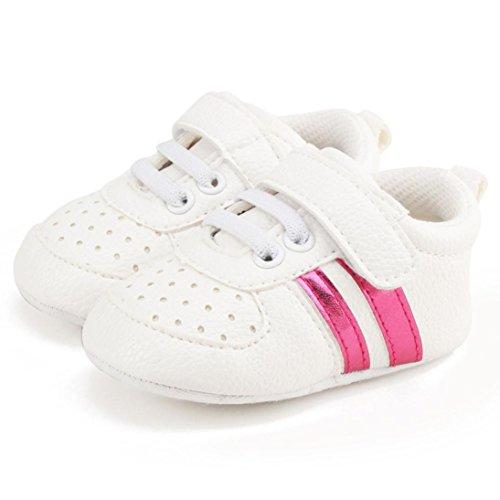 Xshuai Heißer Verkauf Antibeleg-Kleinkind-Mädchen-Jungen-Krippe-Schuhe Prewalker-weiche alleinige Turnschuhe Rosenrot