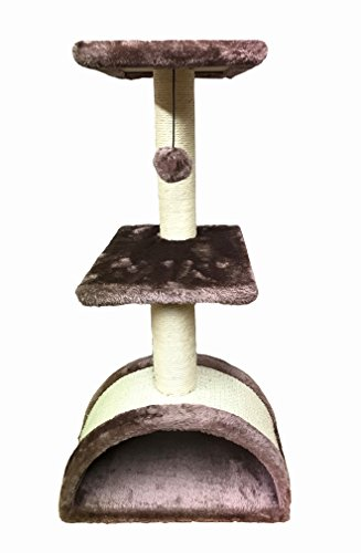 Outback Jack Multi Level Cat Tree With Bed and Scratching Post, Light Brown, Kai