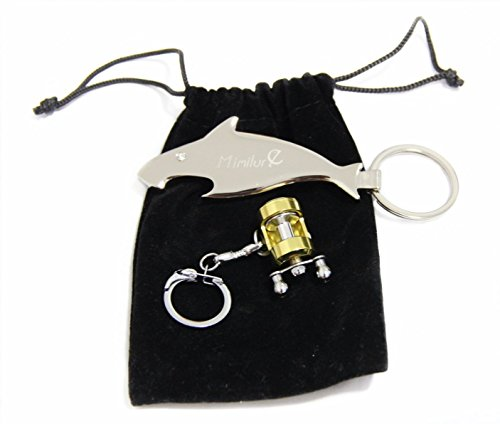 Mimilure Fishing Reel Keychain and Fish Style Beer Opener Keychain, Miniature Fishing Gift for Anglers