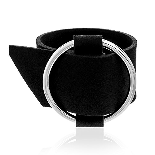 (LESA MICHELE Open Circle Black Wide Simulated Leather Belt Design Buckle Bracelet for Women (White))