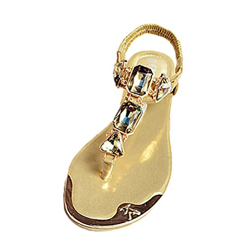 Donalworld Women Beach Shoes T Strap Wedge Gladiator Flat Sandal Gold xDsD5PfHwp