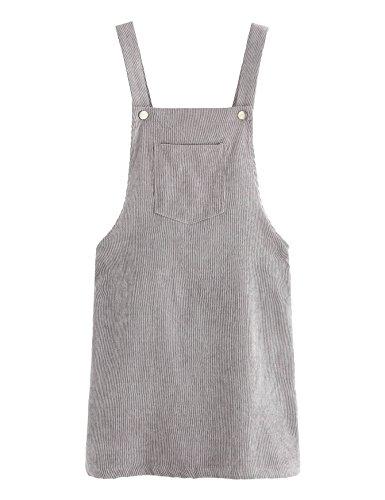 Romwe Women's Straps A-line Corduroy Pinafore Bib Pocket Overall Dress Dark Gray M - Jumper Mini Dress