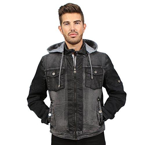 Newfacelook Men Denim Hooded Stonewash Faux Fur Lining Jacket Black XL