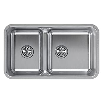 Image of Home Improvements Elkay ELUHAQD32179 Lustertone Classic 40/60 Double Bowl Undermount Stainless Steel Sink with Aqua Divide