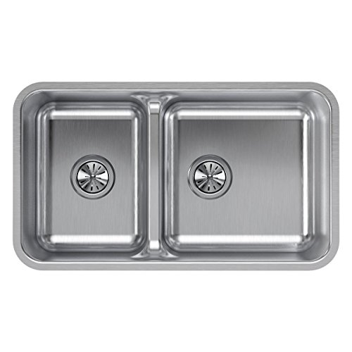 (Elkay ELUHAQD32179 Lustertone Classic 40/60 Double Bowl Undermount Stainless Steel Sink with Aqua Divide)