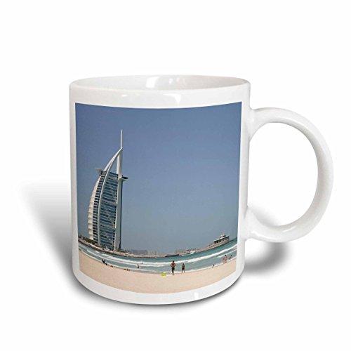 3dRose mug 207330_ 2Burj Al Arab al 100% con tela de algodón de pato de playa al atardecer, Dubai, Emiratos Árabes...
