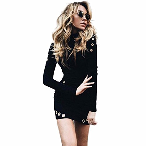 Lolittas Women Sexy Black High-Necked Long Sleeve Package Hip Slim Dress