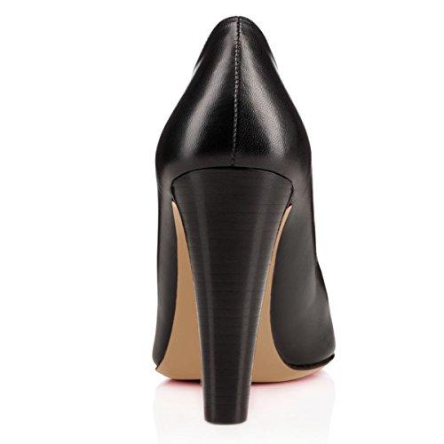 Women Shoes YDN Pumps Thick High Black Slip Heels Office on Peep Toe Dress Pgr4xnwdqg
