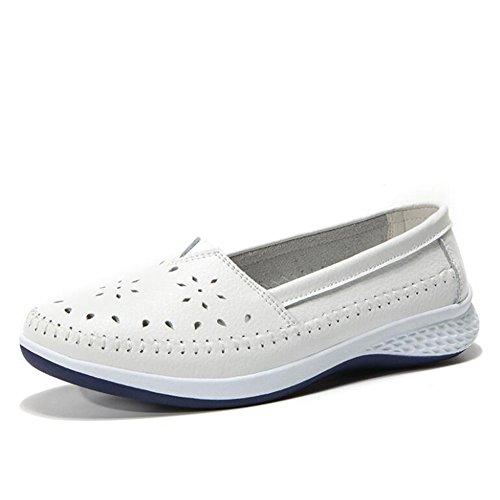 Zapatos de Mujer Zapatos de Guisantes 2018 Zapatos Ocasionales de Verano Zapatos cómodos de Las señoras Zapatos de Guisantes Zapatos Antideslizantes Individuales (Color : Blanco, tamaño : 37)