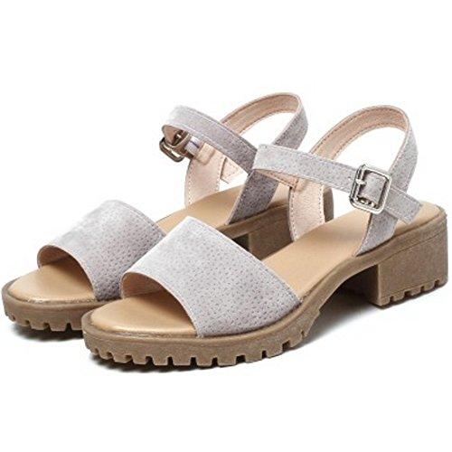 TAOFFEN Mujer Moda Peep Toe Sandalias Tacon Ancho Tacon Medio Al Tobillo Zapatos De Hebilla Gris