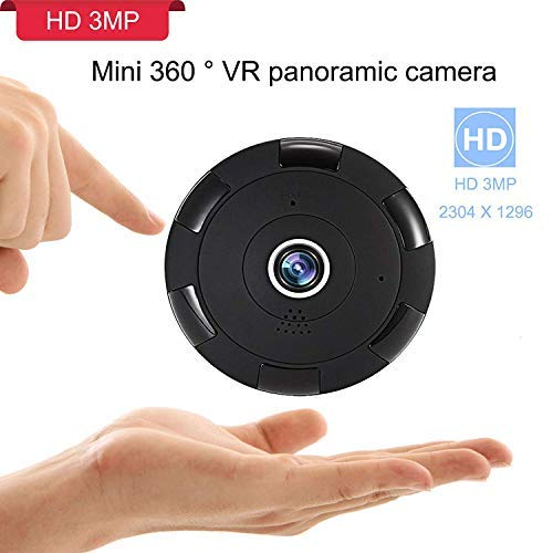Price comparison product image 360 3MP WiFi Home Security Mini IP Camera,  Baby / Elder / Pet / Nanny Monitor,  HD 2304x1296P Wireless Indoor Security Surveillance CCTV Camera System with APP for iOS,  Android,  Night Vision, Two-Way Audio
