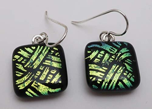 Basketweave Earrings Jewelry - Fused gold black basketweave pattern dichroic glass dangle earrings .925 sterling silver #206