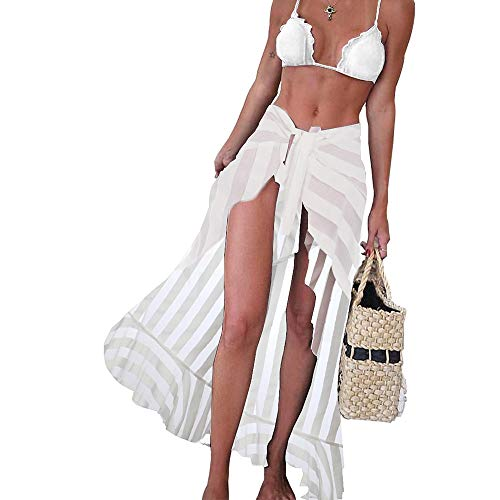 BINLIANG Women Sexy Sheer Beach Skirt Bikini Swimsuit Bottom Cover up Self Tie Wrap Pareo (one-Size, White Patchwork Maxi Sarong)